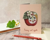 Tommy red apple greeting card. A6. Card for a teacher, card for him, card for her. Birthday card, thank you card, quirky card, vintage style