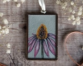 Miniature framed original painting of a Echinacea flower. Summer floral. Wedding favour, mothers day gift, valentines gift. Doll house art.