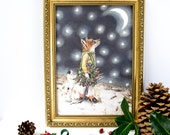 Starry night illustration print of a red fox and Jack Russell dog. Winter art. Snow scene. Nursery wall art. Art for your walls