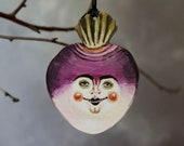 Turnip head wooden Halloween hanging decoration. Creepy, spooky, trick or treat. Halloween gift