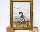 Illustration artwork print of Tom Kitten in nursery. Edwardian style. Vintage style. Nursery decor. Childrens print. Gift for cat lovers
