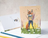 Clarence the Fox greeting note card. Featuring foxgloves and bees, a summer in a picture. Birthday card/ thank you card/ any occassion card.