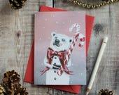 Teddy the polar bear Christmas card. Vintage style/ illustrated/ bear Christmas card/ arctic/ polar bear stationary/ winter polar bear/ snow