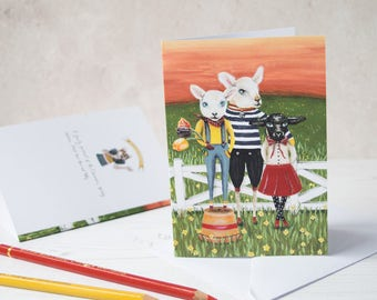 Spring lambs note card. Blank inside. Easter card/ Birthday card/ Mothers day card/ card for a farmer. Card for an animal lover