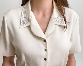 90s cardluse Women/'s blouse