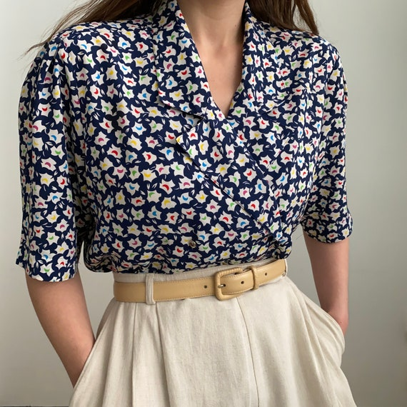 80s Ditsy print blouse