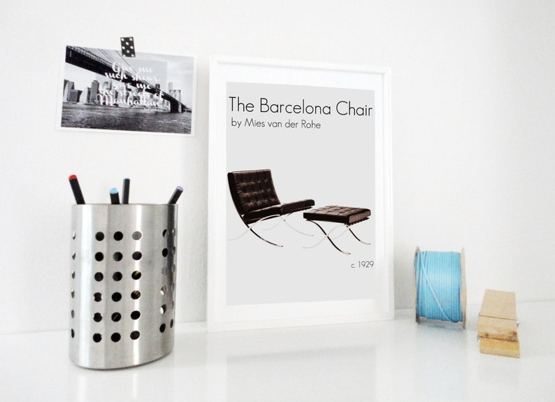 Excellent Art Print The Barcelona Chair By Ludwig Mies Van Der Rohe Mod Retro Decor Home Office Decor Vintage Style Art Wall Art Ibusinesslaw Wood Chair Design Ideas Ibusinesslaworg