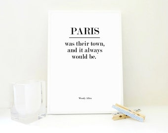 Paris Was Their Town Printable Art Print - Paris Art - Anniversary Wedding Gift Couple Gift France Poster Geography Travel Art JPG PDF Files