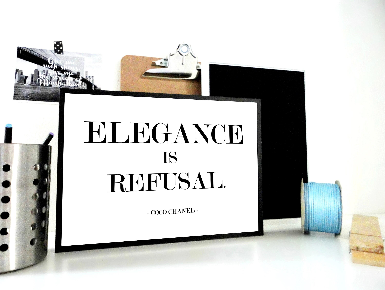 Kunst-Druck-Eleganz ist Verweigerung Coco Chanel Print   Etsy