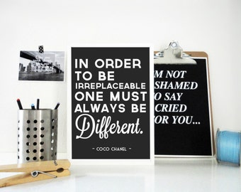Always Be Different Coco Chanel Quote Art Print, Motivational Print, Inspirational Poster, Famous Quote, Typography Art in Gray or White