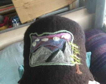 Merino wet felted hat with Oregon Sunset over the mountain