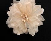 "4.5"" Blush Silk Bridal Flower Hair-Clip - Made in USA (Wedding Flower)"