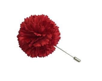 "M&S Schmalberg 2"" Red Silk Satin Carnation Brooch Men's Lapel Pin Made in USA (Stick Pin)"