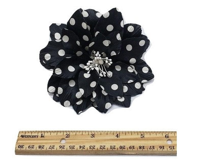 M/&S Schmalberg Large 5 Polka Dot Flower Black with White Dot Silk Millinery Fabric Flower Brooch Pin