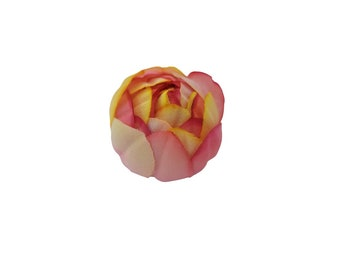 """M&S Schmalberg 2"""" Sun Fire Yellow and pink shades Tulip Flower Hand Dyed Millinery Artificial Brooch Pin"""