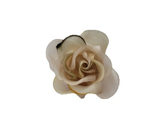 """M&S Schmalberg 2"""" Rose Bud Golden Nude Shades Flower Hand Dyed Millinery Artificial Brooch Pin"""