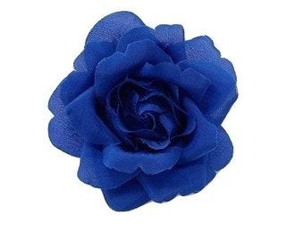 "M&S Schmalberg 3.5"" Blue Silk Rose Flower Brooch Pin - Made in USA"