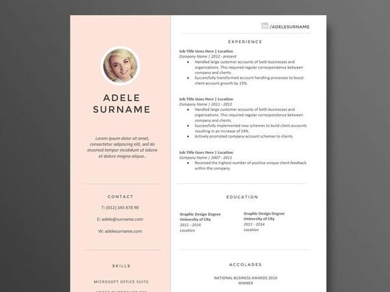 Stilvoll Modern und sauber Lebenslauf Vorlage die Adele | Etsy