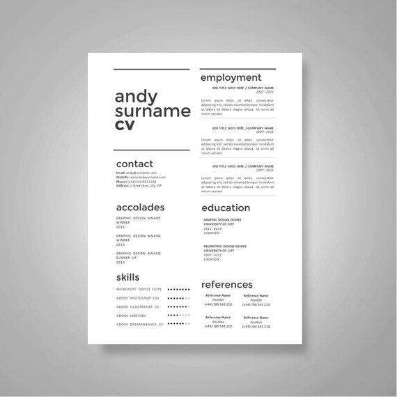 Instant Download 1 Seite CV Lebenslauf Vorlage Anschreiben