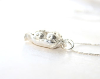 Two Peas In A Pod Necklace,Bridesmaids Gift,Organic Silver Pendant, Wedding, Mom Jewelry, Bridal Party, Peapod Pendant, Peapod Charm