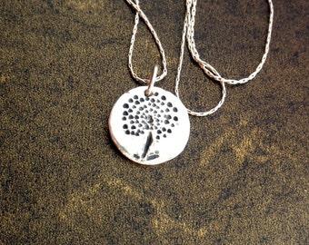 Necklace, Dandelion Fine Silver Pendant, Small Dandelion Charm, Small Rustic Charm, Organic eco-friendly