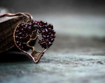 Family tree, Sentimental jewelry, Heart Tree of Life Necklace, Garnet Jewelry, Family Tree, January Birthstone, Valentines Gift