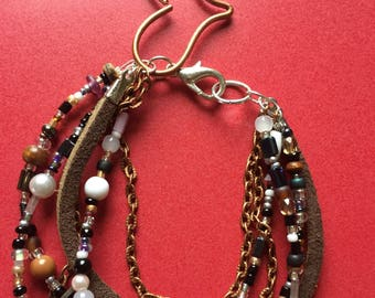 Multi layer beaded and chain bracelet
