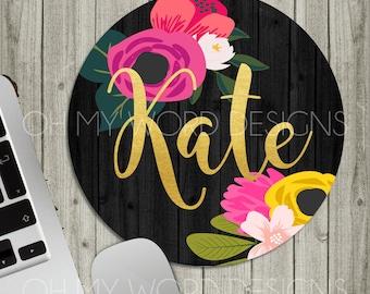 Personalized Mouse Pad-Monogram Mouse Pad-Desk Accessories-Watercolor Flowers-Round Mouse Pad-Desk Mat