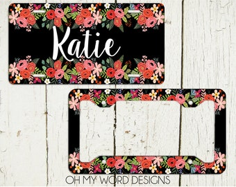 Personalized License Plate-Personalized License Plate Frame-Watercolor Flowers Car Tag-Car Tag Frame-License Plate Frame-Flowers Car Tag