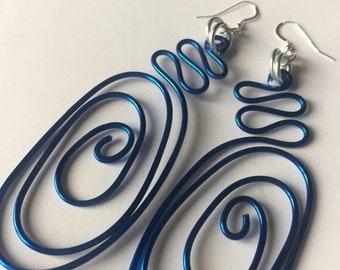 ENJOY 15% OFF Large Blue Earrings, Long Blue Earrings, Big Blue Earrings, Bold Earring, Gift for her, Statement Earrings, unique jewelry