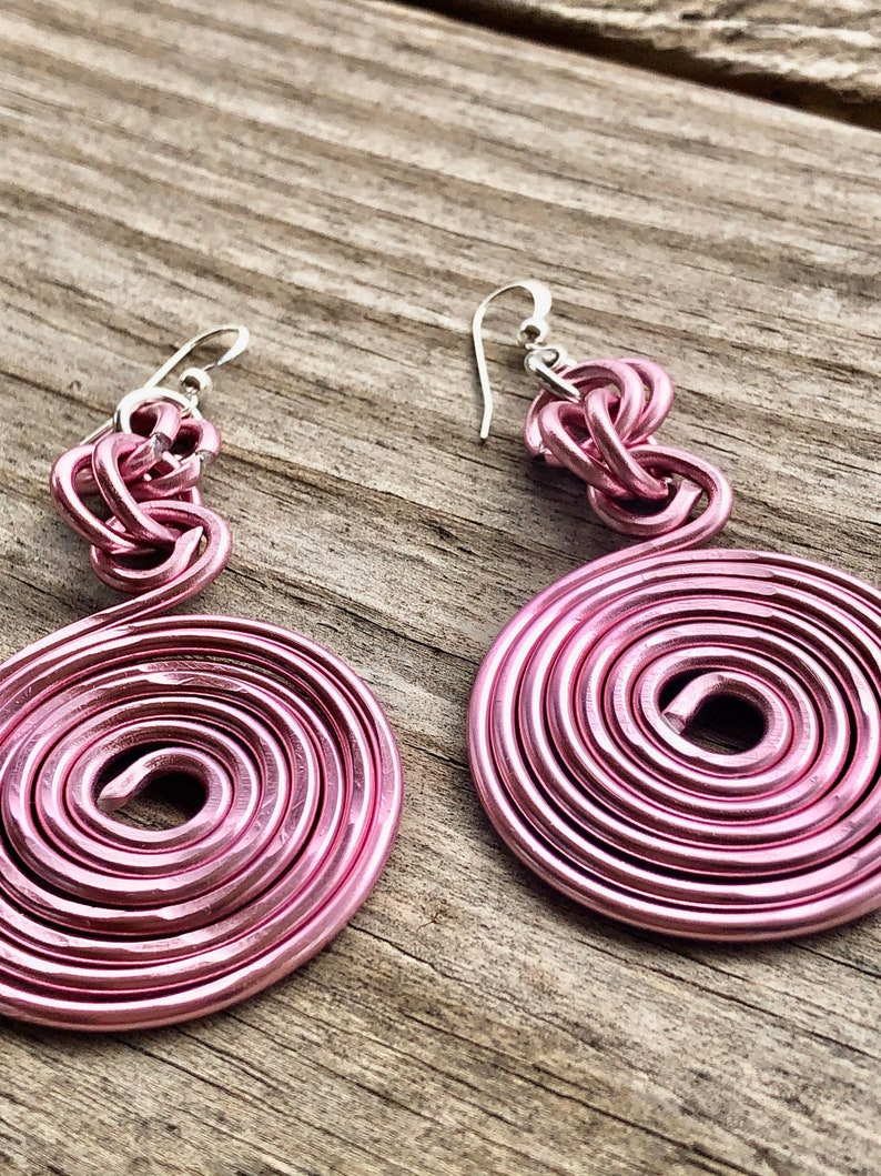 BREAST CANCER AWARENESS Medium Round Pink Hammered Earrings with Sterling Silver Ear Wire