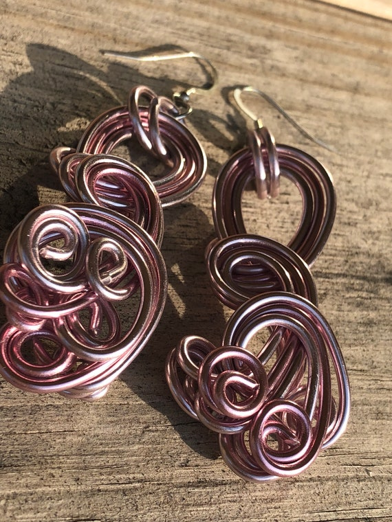 Pink Swirl Wire Wrapped Earrings