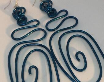 ENJOY 15% OFF Large Blue Earrings, Long Blue Earrings, Big Blue Earrings, Bold Earring, Gift for her, Statement Earrings, Unique Earrings