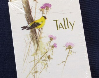 8 Yellow Finch Bridge Tally Cards, Vintage American Greetings, New Old Stock