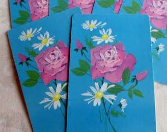 6 Pink Rose with Daisies Vintage Playing Cards