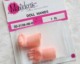 Mangelsen's Vintage Doll Hands in Original Packaging, New Old Stock - One Hand Open, One Hand Closed