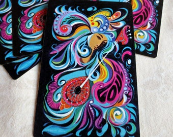 6 Psychadelic Woman with Lute Vintage Playing Cards