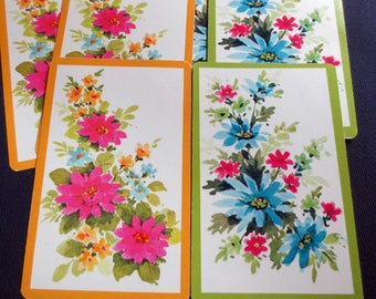 6 Pink & Blue Flower Sprigs Vintage Playing Cards, 3 of each