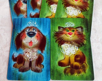 6 Pets with Tiaras Vintage Playing Cards - 3 Dogs, 3 Cats