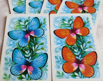 6 Butterfly Vintage Playing Cards, 3 Blue, 3 Orange