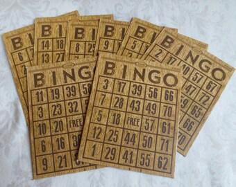 8 Wood Grain Bingo Cards