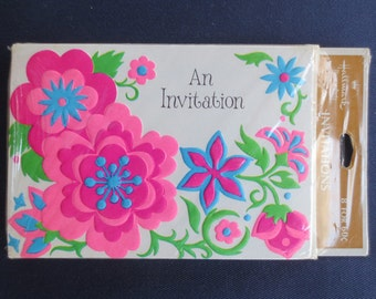 Pink & Turquoise Bright Flower Vintage Invitations, 8 New in Package, Vintage Hallmark, New Old Stock