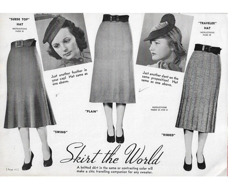 1930s Sewing Patterns- Dresses, Pants, Tops Vintage 1940s Knitting Patterns | 3 skirts & 2 hats | swing skirt A line skirt ribbed skirt | 1930s skirt 40s skirt crochet hats | PDF $3.00 AT vintagedancer.com