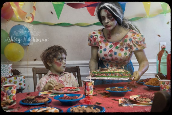 8x10 Signed Archival Print Zombie Boy Kid Birthday Party Cake