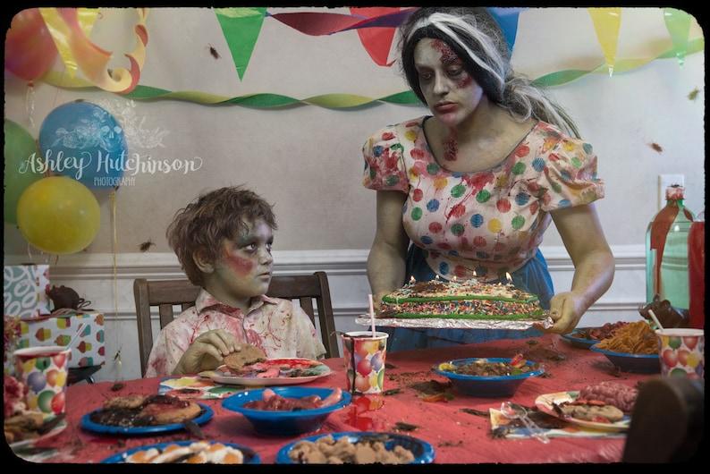 5x7 Signed Archival Print Zombie Boy Kid Birthday Party Cake