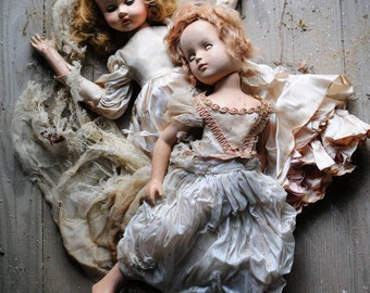 8x10 Signed Archival Photographic Print of Two Female Dolls in Fancy Dresses Laying on Each other on Abandoned House Floor