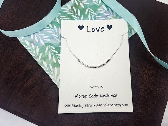 Morse Code Necklace in Sterling Silver 18 JOY