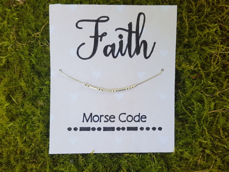 FAITH Morse Code Necklace in Sterling Silver 18