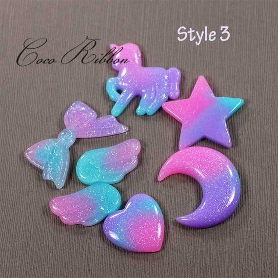 6pc Gradient Pastel Rainbow Glitter Moon Flatback Resin Cabochon G16