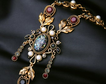 Statement necklace, Vintage necklace, Wedding necklace, Bridal necklace, Party necklace, Holiday necklace, Gemstone necklace - Ondine